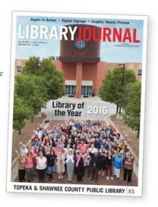 cover of Library Journal with Topeka & Shawnee County Public Library and staff