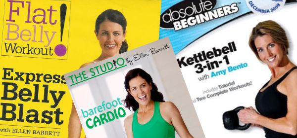 Collage of exercise DVDs