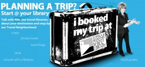 Ad for using the library's travel collection