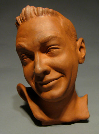 Stafford's fun portrait teapot in a traditional style clay.
