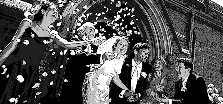 An illustration of someone getting married