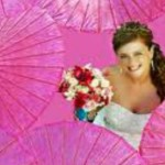 Bride in pink umbrellas resized