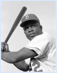 Jackie Robinson in his Brooklyn Dodgers uniform.