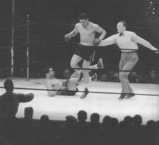 Joe Louis puts Max Schmelling to the canvas in their second fight