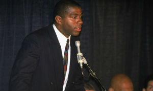 Magic Johnson announces to the world that he is HIV positive.