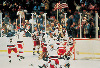 The U.S. Hockey Team celebrates their victory over the Soviets.