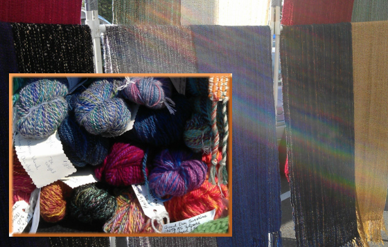 You can find handspun yarn from the Potwin Fiber Artisans and handwoven shawls at the Art Annex II. Watch for busy spinning wheels at the Downtown market.