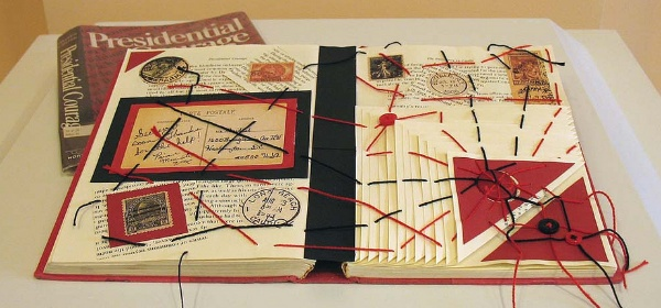 Presidential Courage and the Web of Power, altered book by Charity Rouse