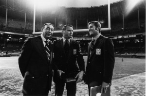 The first year of Monday Night Football the broadcasters were Howard Cosell, Don Meredith and Keith Jackson.