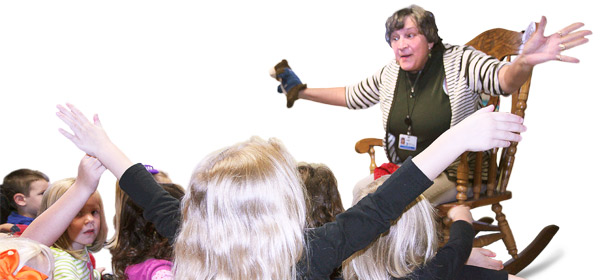 Outreach Storyteller Judy Rohr presents storytime out in the community