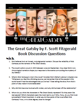 Download the Great Gatsby discussion questions as a 4 page pdf