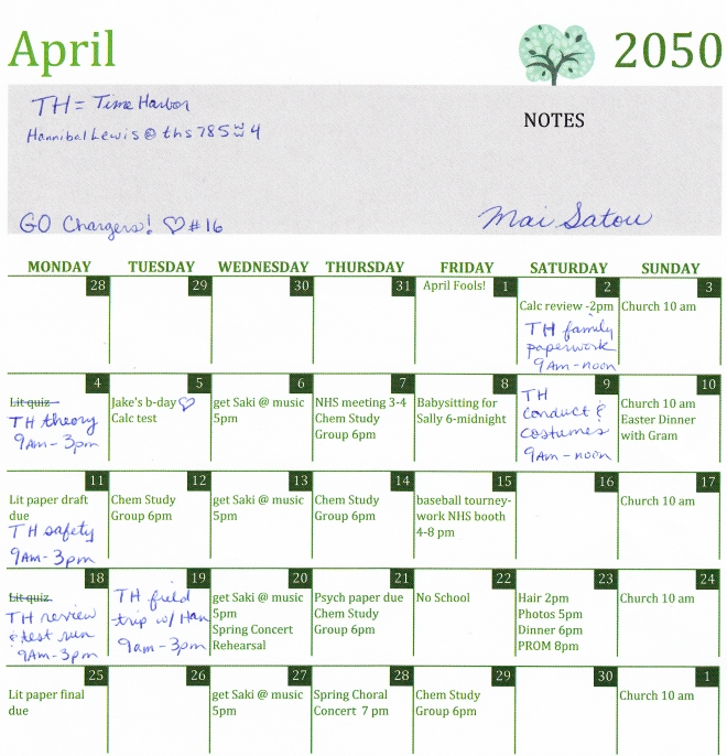 Mai Satou's calendar April 2050