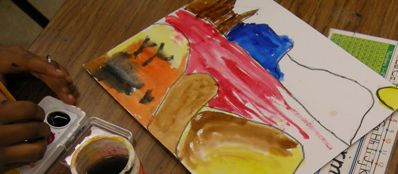Watercolor painting by Third grade Art Club student