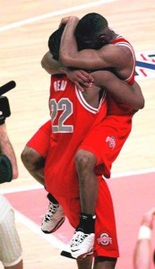 Scoonie Penn and Michael Redd celebrate their destruction of Nate's bracket in 1999.