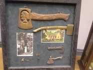 "Some of Ron Lopez Reese's Carry Nation related items.  The large wooden hatchet was dislayed in a saloon and says ""All Nations Welcome But Carrie"""