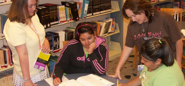 Teens receiving homework help
