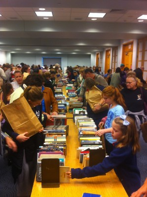 Shoppers hunt for book bargains at a sale in 2013.