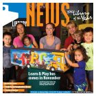Cover of Library News featuring kids, parents and new bus