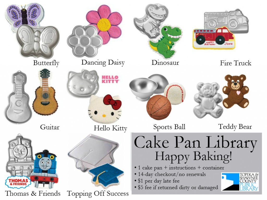 Cake Pan Library handout with labels