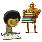 Boy reading book with robot in background