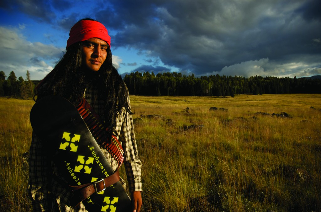 Lee Nash (White Mountain Apache) of the 4-Wheel Warpony skateboarding crew