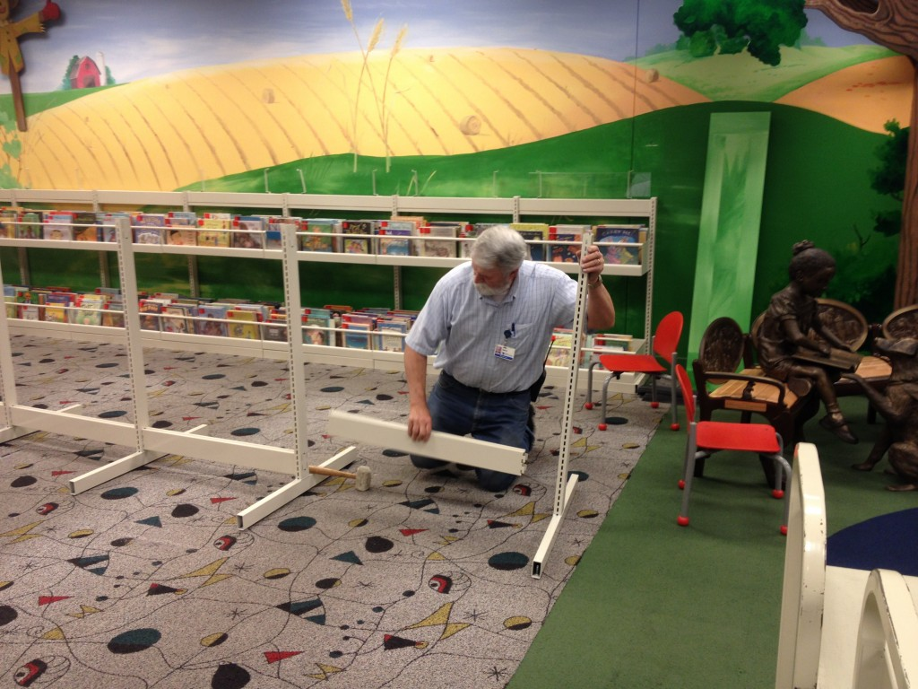 Dave Perkins assembling shelving