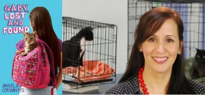 Book cover: Gaby, Lost and Found. Portrait of author Angela Cervantes at an animal shelter.