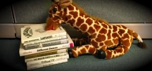 stack of books and stuffed giraffe