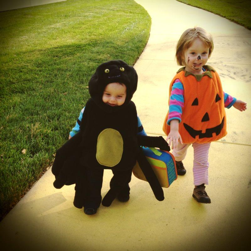 kids walking at Halloween