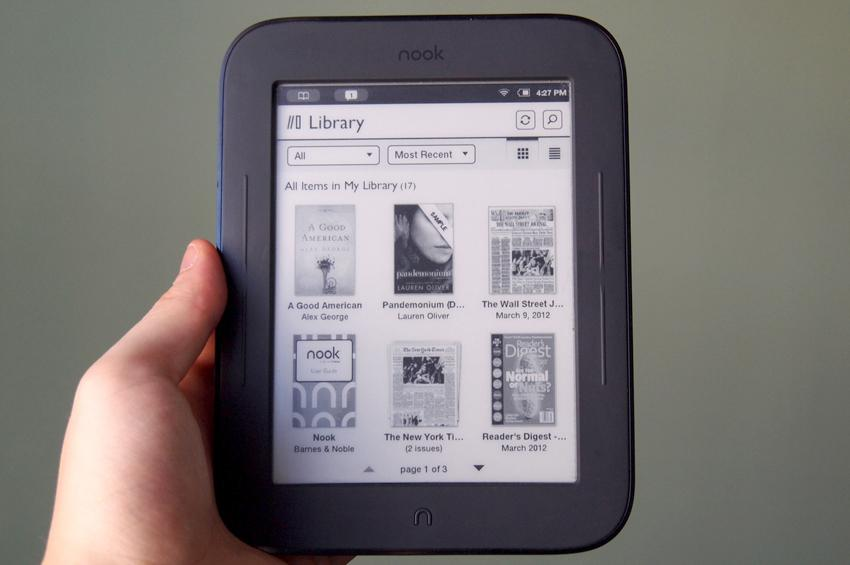 Barnes-Noble-Nook-Simple-Touch-with-GlowLight-library