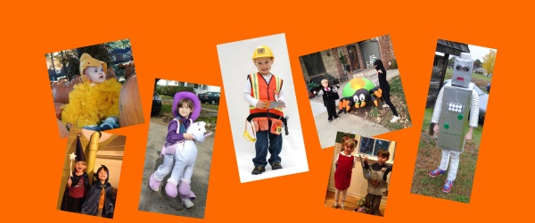 Photos of kids in Halloween costumes
