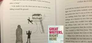 """Photo of open book, text reads """"Great Writers, Right Here"""""""