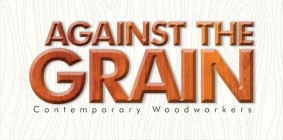 against the grain art show poster with wood grain