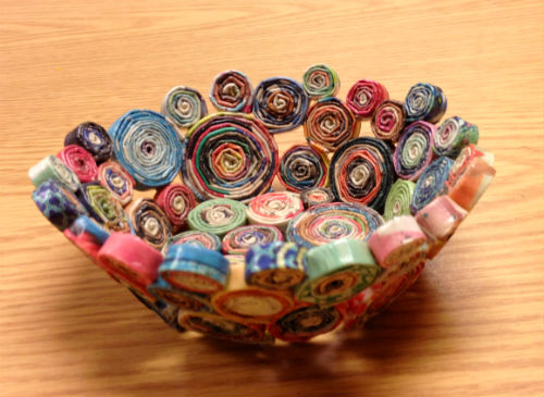 Decorative bowl made entirely from one catalog.