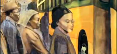 Rosa Parks at bus stop