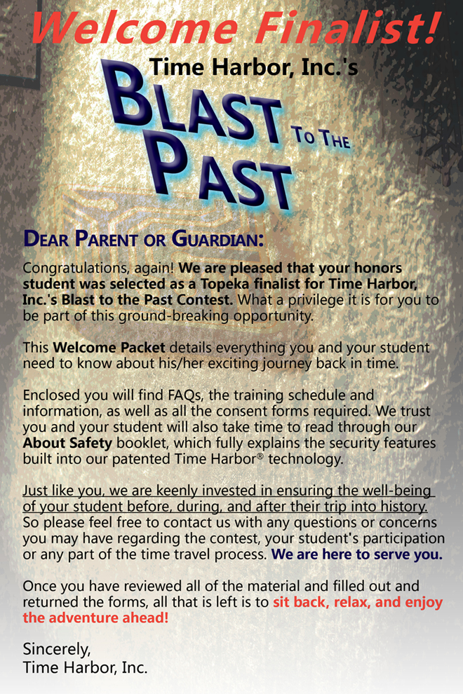 Letter to Parents from Blast to the Past