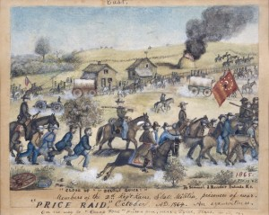 """Price's Raid"" illustration by Samuel J. Reader.  In the bottom left corner is a depiction of Reader and the other Union soldiers captured after the Battle of the Big Blue."
