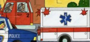 fire engine, police car, ambulance
