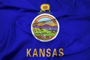 Waving Kansas State Flag
