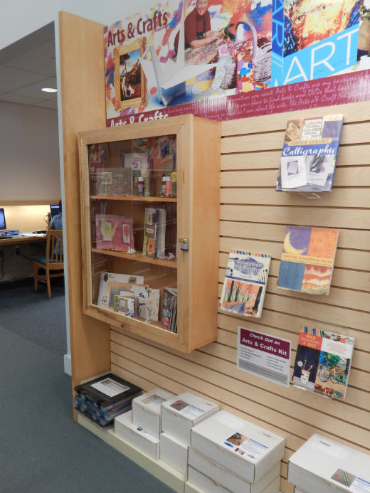 Arts & Crafts kits can be found in the Arts & Crafts Neighborhood in the library.