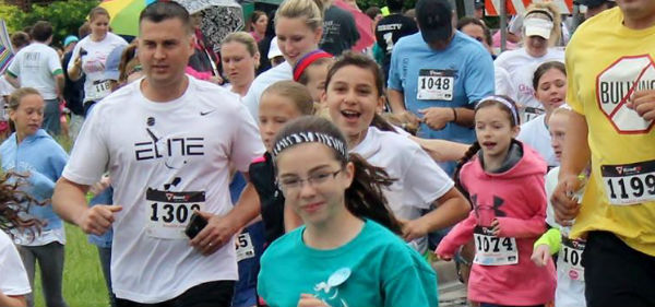 Kids and adults running