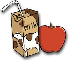 milk carton and apple