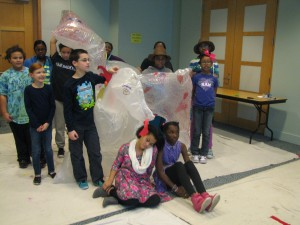 This is the inflatable dragon sculpture we made to demonstrate the math involved in making a pattern.