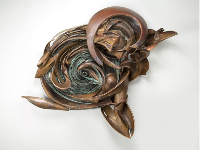 "Jon Havener's ""Escapement"", copper and patina"