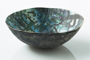 Perkins' enamled copper is a fine work of art and craft