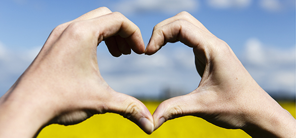 Love shape hands, heart on yellow field and blue sky