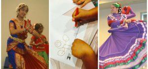 Indian dancer, child coloring, Folkloric dancer
