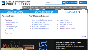 Use the Library Research It tab to find Genealogy Resources.