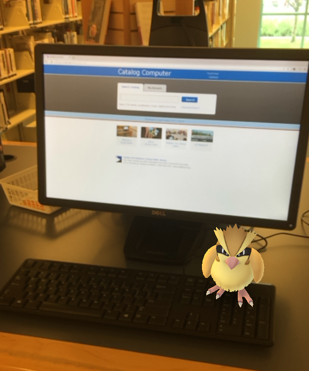 Pidgey roosts on a catalog computer