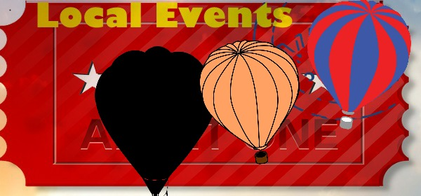 Local events ticket with balloons